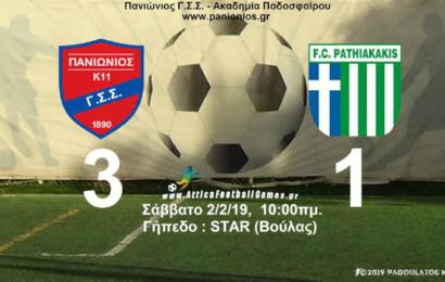 Κ11: Πανιώνιος vs Παθιακάκης 3-1